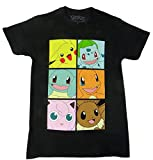 Pokemon Gen One Pikachu Bulbasaur Eevee Boxes T-shirt (XXXL,Black)