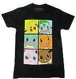 Pokemon Gen One Pikachu Bulbasaur Eevee Boxes T-shirt (Medium,Black)
