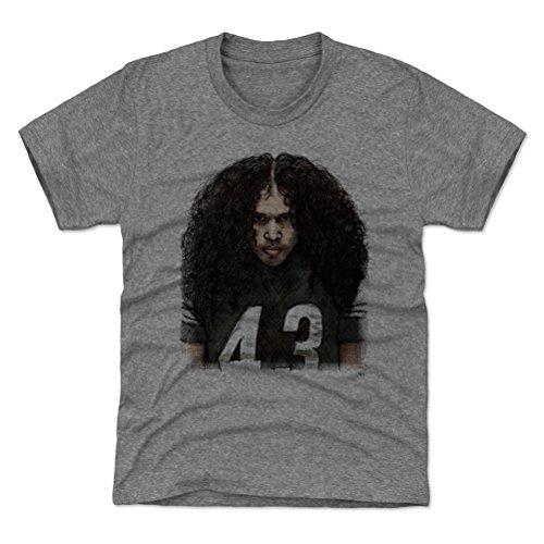 (500 LEVEL Troy Polamalu Pittsburgh Steelers Youth Shirt (Kids X-Small (4-5Y), Tri Gray) - Troy Polamalu Sketch K)