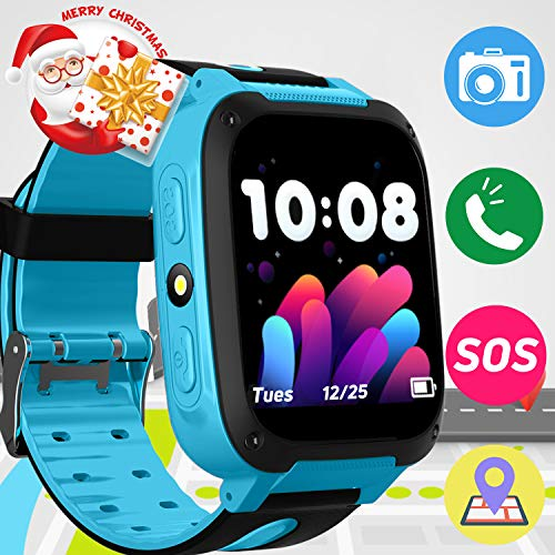 Kids Phone Smart Watch SOS GPS Tracker Wrist with 3-12 Year Old Smart Watch Phone for Girls Boys Kids with Camera Pedometer Game Outdoor Anti-Lost Cell Phone Smartwatch New Year Birthday Holiday Gift
