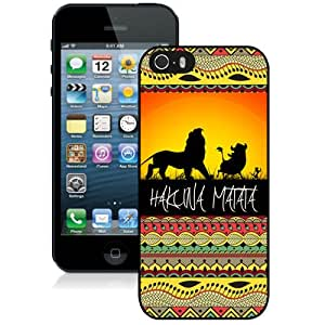 Fashionable And Nice Custom Designed Case For iPhone 5S With Hakuna Matata On Sunset Lion King Black Phone Case