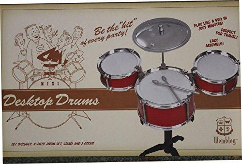 (Wembley Desktop Drum Set - Set Includes: 4 Piece Drum Set, Stand and 2 Sticks)