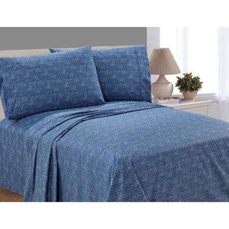 Mainstay 200 Thread Count Percale Queen Sheet Set Lightweight, Crisp, Airy, and Cool, Blue Herringbone
