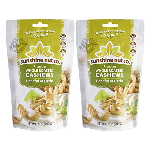 Salted Rosemary - Sunshine Nut Company 'Handful of Herbs' Cashews, Peanut Free, Gluten Free, GMO Free, 7 oz, Pack of 2