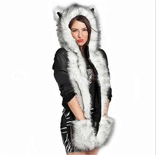 Unisex Adult 3 in 1 Animal Warm Winter Faux Fur Hat Fluffy Plush Cap Hood  Scarf Shawl Glove Huskies at Amazon Women s Clothing store  c44b2840715e