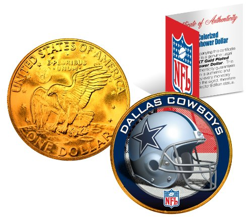 DALLAS COWBOYS NFL 24K Gold Plated IKE Dollar US Coin OFFICIALLY LICENSED with NFL COA