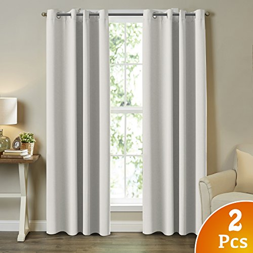 Black And White Window Treatments (Blackout White Curtains Window Treatment Draperies - 52 x 84 Inch, 2 Pieces, Insulating Room Darkening Curtains Drapes for Bedroom / Living Room)