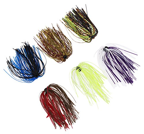 C-Pioneer 6 Bundles 50 Strands Mixed Color Silicone Skirts Fishing Skirt Rubber Jig Lure for Bass (Jig Rubber Skirts)