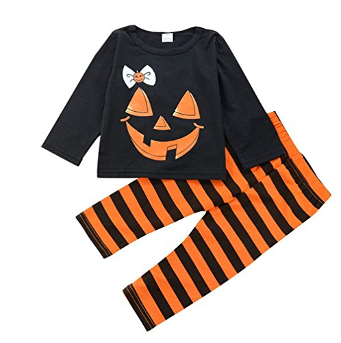 Younger Tree Halloween Cute Infant Toddler Baby Kids Girl Clothes Long Sleeve Top and Pants Outfits Set 3PC (Stripe, 18-24 m) for $<!--$10.99-->