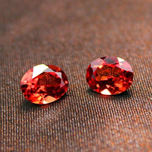 Calvas Oval Shape Spessartine Mandarin Garnet Loose Created Gemstone jewely Beads Garnet top Quality DIY Fancy Colored Faceted Stone - (Item Diameter: -
