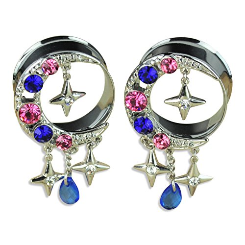 ArcticBuffalo Stainless Steel Crescent Moon with CZ Gems and Dangle Charms Tunnels Ear Gauges (Dangle 16 Gauge Gem)
