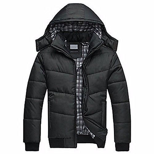 ZHUDJ Men's Regular Padded Coat,Simple Casual/Daily Solid-Nylon polypropylene Long Sleeves Black