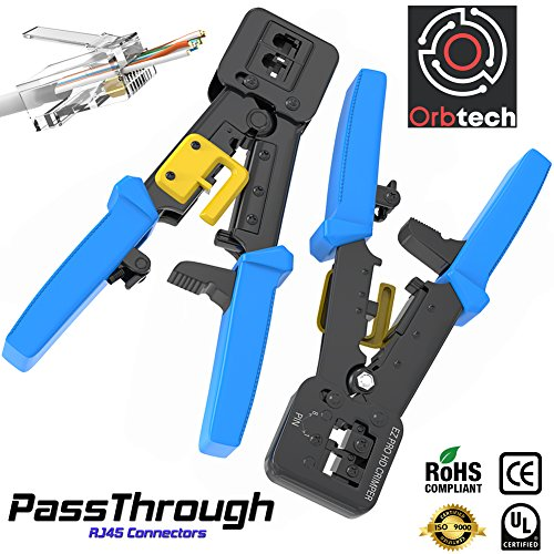 RJ45 Crimp Tool for Pass-through and legacy connectors | Professional High Performance Crimper Tool (Cat5 Shielded Terminate)