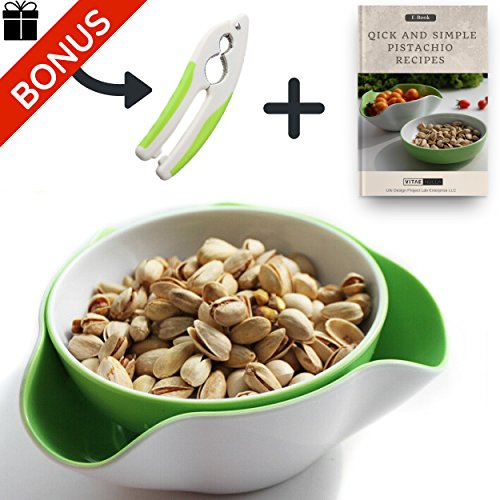 Pistachio Bowl: Double Dish Serving Snack Dish for Nuts with Bonus Nutcracker and Recipe E-Book
