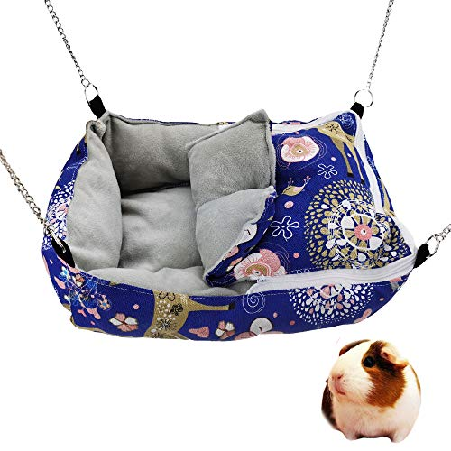 MuYaoPet Winter Warm Guinea Pig Rabbit Hedgehog Bed Sugar Glider Squirrel Hamster Hanging Cave Bed Snuggle Sack for Cage Accessories (13.79.83.1inch, Blue)