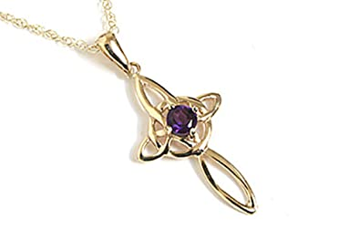 9ct Gold Amethyst Celtic Cross Pendant and Chain XebAxT
