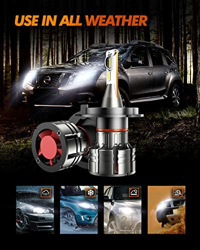 SEALIGHT H4/9003/HB2 LED Headlight Bulbs, 10000lm Ultra-thin Design 60W 6500K White High Low Beam Led Headlights Conversion Kit with Fan 2 Pcs