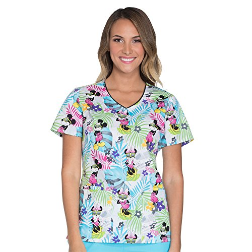 Women's V-Neck Mickey Mouse Print Scrub Top X-Small Print (Cherokee Print V-neck Scrub)