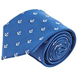 100% Silk Nautical Anchor Navy Blue & White Tie Men's Necktie by John William