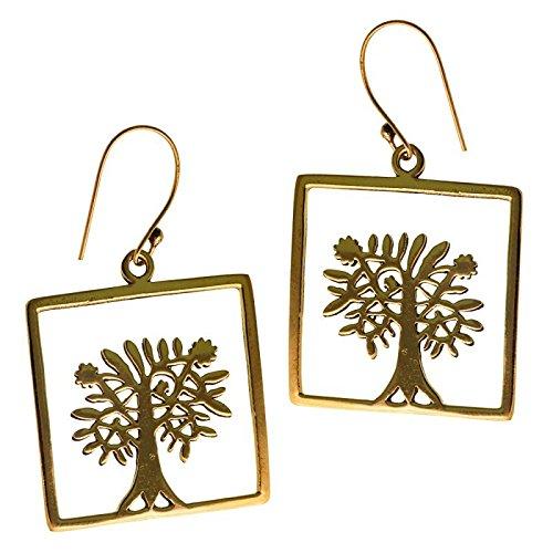 (Earrings Square Tree of Life Women's Antique Brass golden earrings nickel free tribal jewelry)