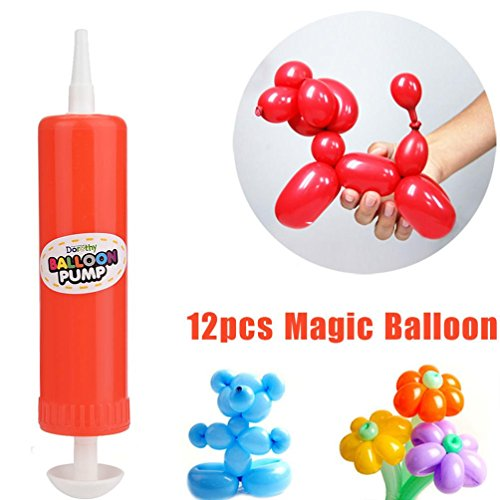 Fiaya 12 PCS Latex Twisting Balloons Magic Long Balloons Color Party Toys + 1PC (Best Counts With Balloon Pumps)