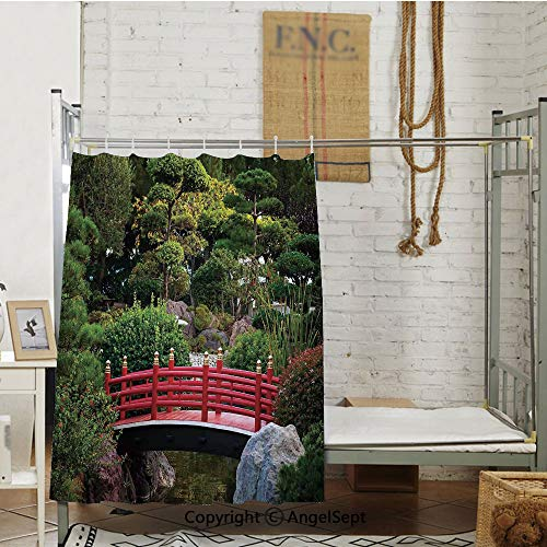 Tiny bridge Over Pond Japanese Garden Monte Carlo Monaco Along With Trees and Plants Decorative Room partition curtains,(72