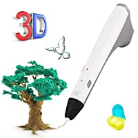 3D Pen, 3D Printing Pen for 3D Modeling, Education, Bonus 2 Free 1.75mm PCL Filament, 3D Drawing Printing Pen for Kids Adults Arts Crafts DIY (White)