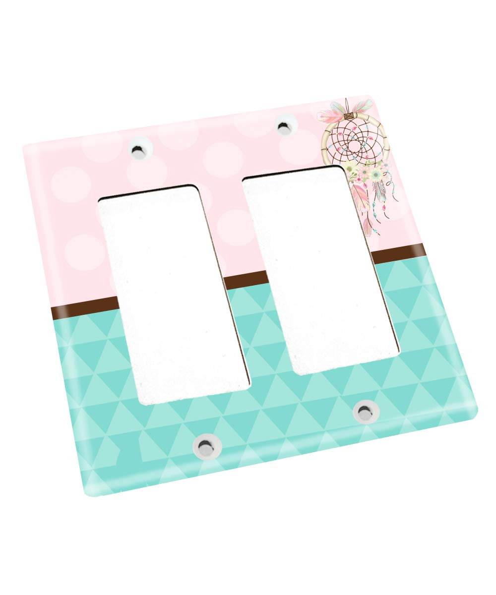 Pink and Turquoise Feather Dream Catcher Nursery Bedroom Light Switch Cover LS0104 (Double Decora) by Toad and Lily