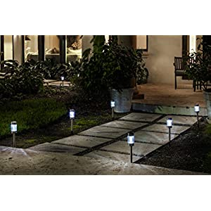 Highgate Solar Accent LED Path Lights, Stainless Steel, Set of 6 with Garden Stakes Model 102