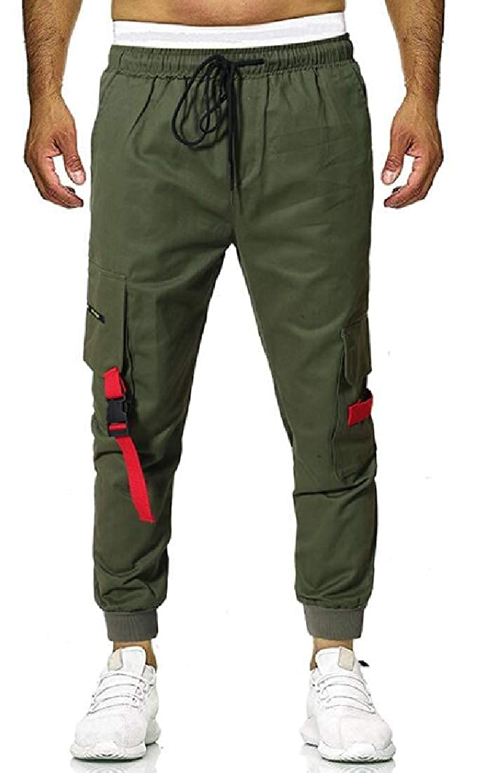 SELX Men Casual Cotton Elastic Waisted Jogger Pants Cargo Pants with Pockets