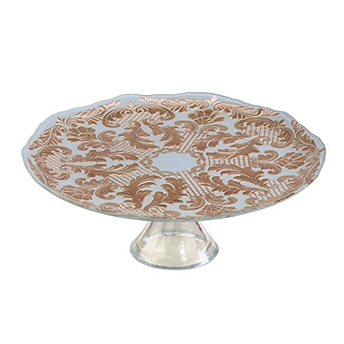Amici Home, 7TD224R, Siena Collection Large Footed Cake Plate, Powder Blue and Rose Gold Damask Pattern, Handmade Decorative Turkish Serveware, 13 Inch Diameter (Collection Footed Cake Plate)