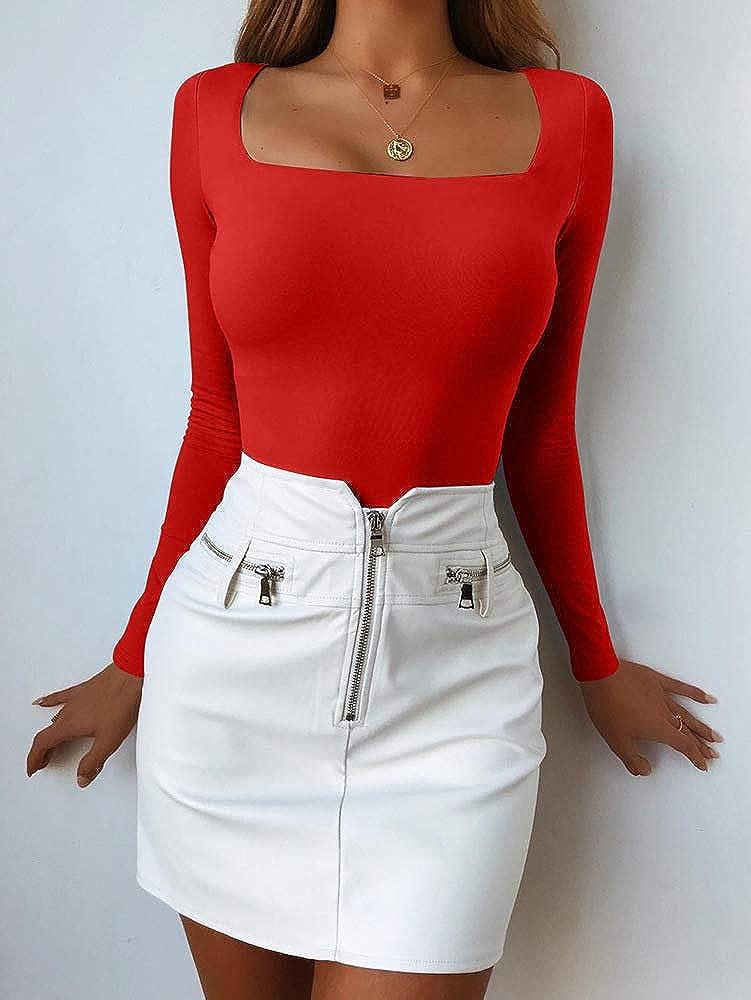 BEAGIMEG Womens Square Neck Long Sleeve Bodysuit Basic Solid Leotards