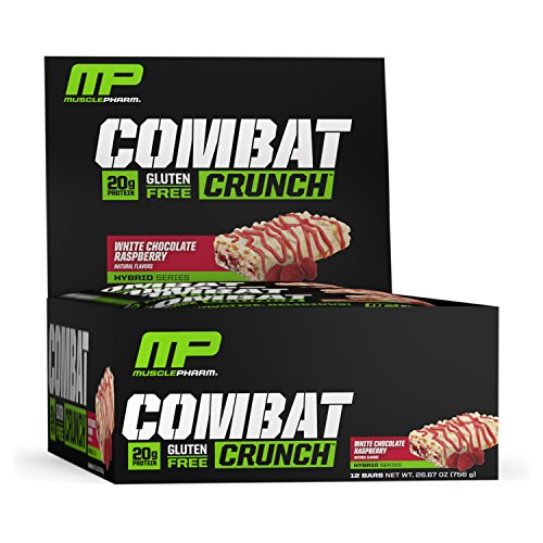 MusclePharm Combat Crunch Protein Bar, Multi-Layered Baked Bar, Gluten-Free Bars, 20 g Protein, Low-Sugar, Low-Carb, Gluten-Free, White Chocolate Raspberry Bars, 12 Servings