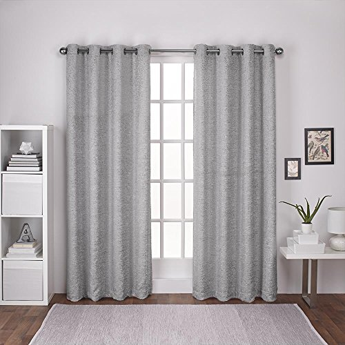 Exclusive Home Curtains Criss Cross Chenille Eyelash Room Darkening Grommet Top Window Curtain Panel Pair, Cloud Grey, 54×84 For Sale