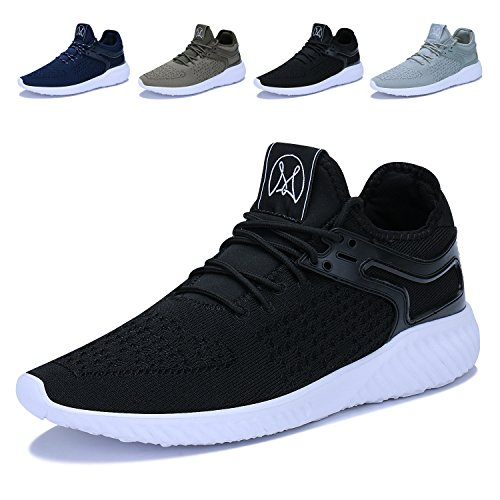 Mens Sneakers Lightweight Breathable Athletic Running Tennis Walking Shoes (Dark Tennis Shoes)