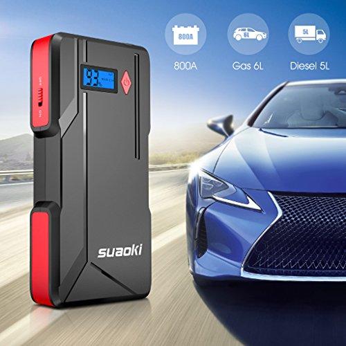SUAOKI P6 arrancador de Coche 800A Batería de automóvil máxima (hasta 6.0 litros de Gasolina o Diesel de 5.0 litros) con Pantalla LCD Puerto Dual USB, ...