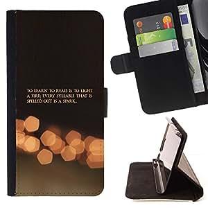 Momo Phone Case / Flip Funda de Cuero Case Cover - Spark Vida Aprendizaje Leer Cita Fuego Mot - LG G2 D800