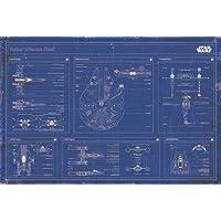 PopArtUK Maxi Poster di Mappa di Guerre Stellari, 61 x 91,5 cm, Colore Blu