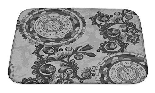 Gear New Black and White Floral Paisley Bath Rug Mat No Slip Microfiber Memory Foam
