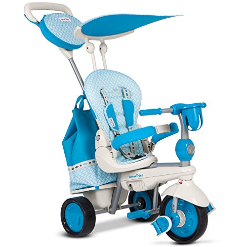 smarTrike Explorer 5 in 1 Baby Trike Light Weight 13.2 Pounds With Foot Rest Reclining Seat Quiet Ride Wheels Cup Holder Storage Bag and Padded Seat - Blue by smarTrike (Image #1)
