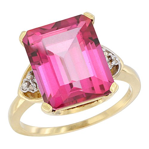 (14K Yellow Gold Diamond Natural Pink Topaz Ring Octagon 12x10 mm, size 8)