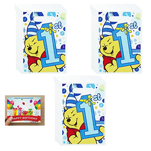Pooh's 1st Birthday Boy Treat Bags Bundle for 24 Guests - Party Folded Treat Sack