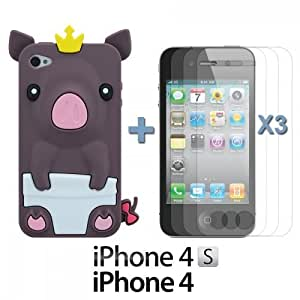 OnlineBestDigitPiggy Style Soft Silicone Case For Iphone 5/5S Cover NBABrown with 3 Screen Protectors