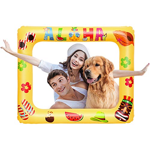 Amosfun Luau Photo Props Luau Hawaiian Photo Booth Props Tropical Party Decoration Inflatable Picture Frame Blow Up Photo Booth Props Selfie Picture Frame -