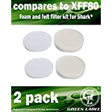 2 Pack Foam and Felt Filter Kit for Shark Navigator Professional Vacuum Cleaners (compares to XFF80). Fits: NV70, NV80, NVC80C, NV90, UV420. Genuine Green Label Product.