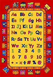 Kids ABC Educational 7x10 Area Rug Alphabet & Numbers Actual Size 7\'2x10\'2