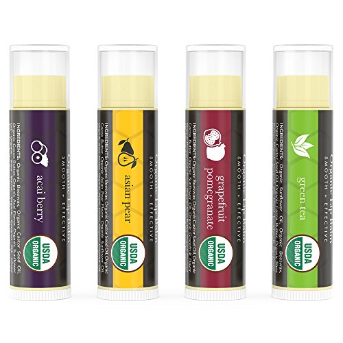 Beauty by Earth Organic Lip Balm Multi Pack; Fruit Flavored Moisturizing Natural Beeswax Chapstick; Long Lasting Therapy to Repair Dry Chapped Cracked Lips (4 Tubes in Pack)