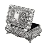 Feyarl Vintage Trinket Box Metallic Engraved Rectangle Jewelry Box with Dividers Inside (3.6 x 2.4 x 1.6 inches)
