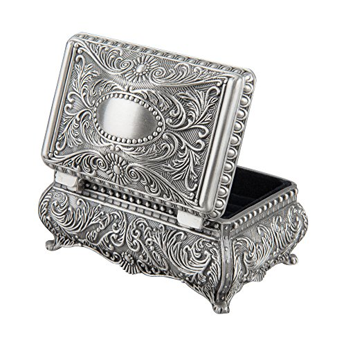 Feyarl Antique Trinket Box Metallic Engraved Rectangle Jewelry Box for Tiny Jewelry, Gift(3.6 x 2.4 x 1.6 inches) Antique Pewter Accessories