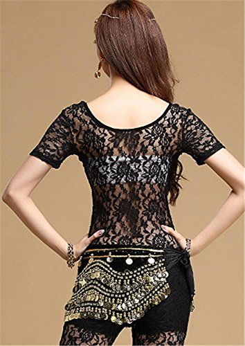 Du 2pcs costume Ventre Black Pantalon Dentelle Femme Peiwen Costume Tops De Danse wI884q